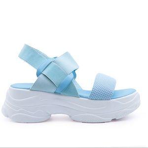 Blue platform strap sandal